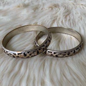 American Eagle Set of Bangles, Aged Silver